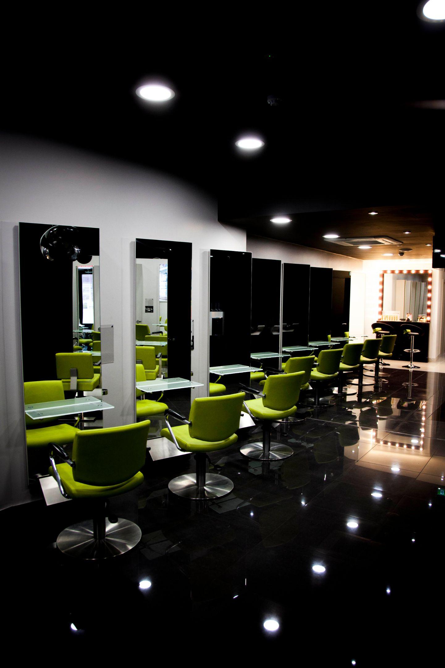 allure hair and beauty salon green chair