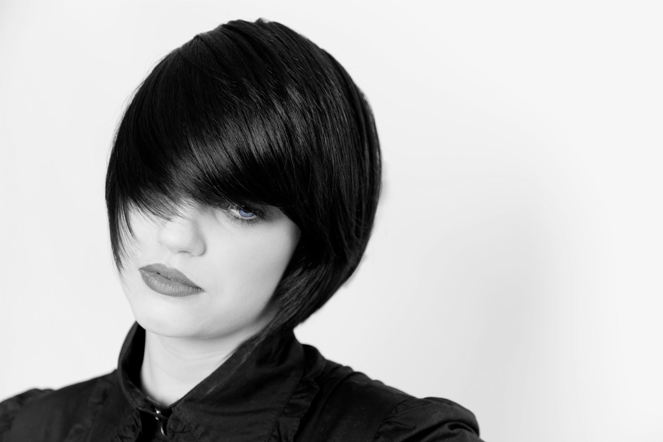 woman with short straight hair